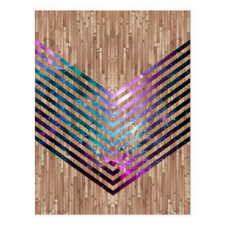 Wood nebula chevron postcard