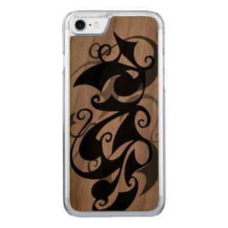 Wood Negative Shadow Swirl (iPhone 7) Clear Edge Carved iPhone 8/7 Case