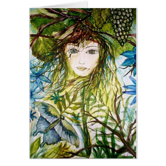 Wood Nymph Blue Butterfly Painting Card