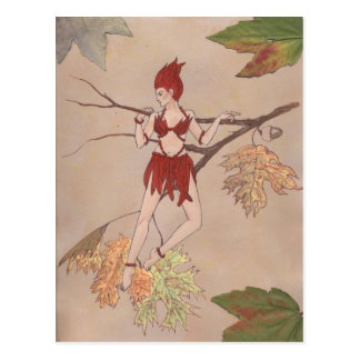 wood nymph with leaves postcard