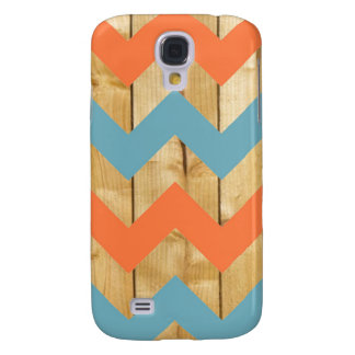 Wood orange blue chevron zigzag zig zag pattern galaxy s4 covers