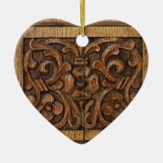 wood panel ceramic heart decoration