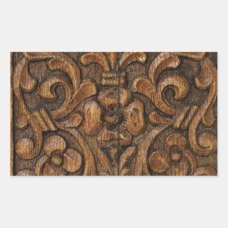 wood panel rectangular sticker