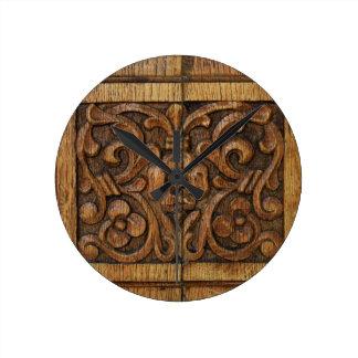 wood panel round clock