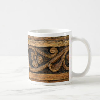 wood panel sculpture coffee mug