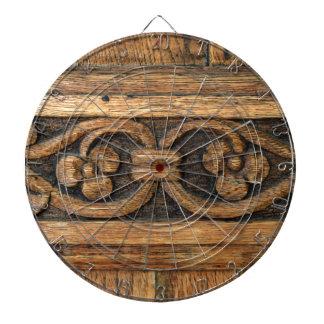 wood panel sculpture dartboard