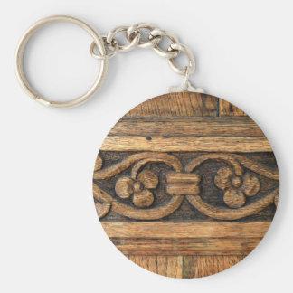 wood panel sculpture key ring