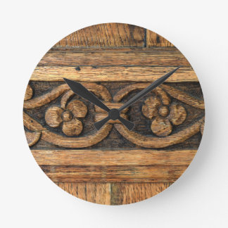 wood panel sculpture round clock