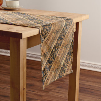 wood panel sculpture short table runner