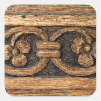 wood panel sculpture square sticker