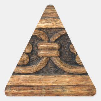 wood panel sculpture triangle sticker
