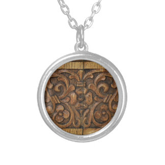 wood panel silver plated necklace