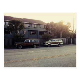 Wood Paneled Cars Beach Theme Sunset Postcard