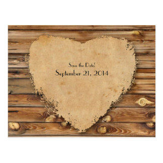 Wood Parchment Tattered Heart Save the Date Postcard