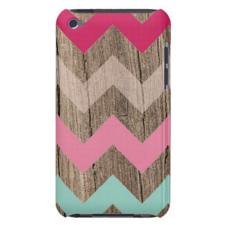 Wood pastel chevron zigzag zig zag pattern chic barely there iPod case