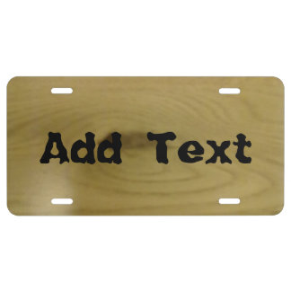 wood pattern license plate