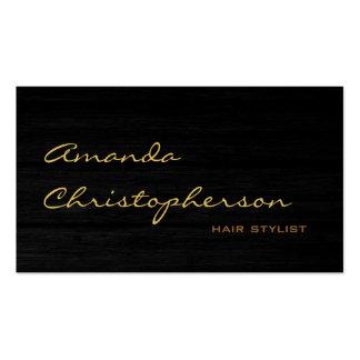 Wood Pattern Script Hair Stylist Business Card