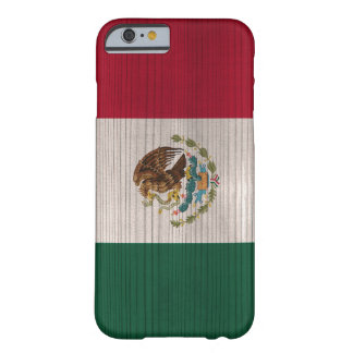 Wood Pattern with Engraved Mexico Flag Barely There iPhone 6 Case