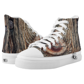 Wood Photo Zipz High Top Shoes