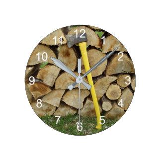Wood Pile and Axe Wallclock