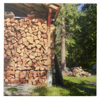 Wood Pile for Bon Fires Large Square Tile