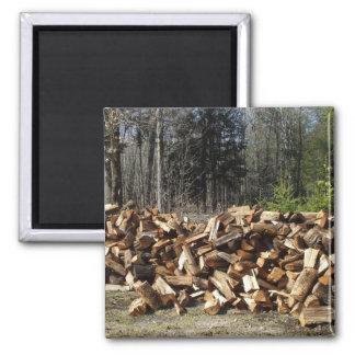 Wood Pile Square Magnet