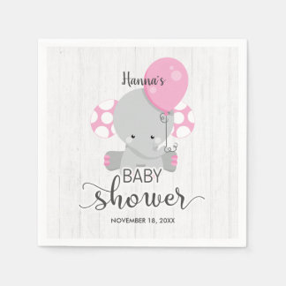 Wood & Pink Elephant Girl Baby Shower Disposable Napkins