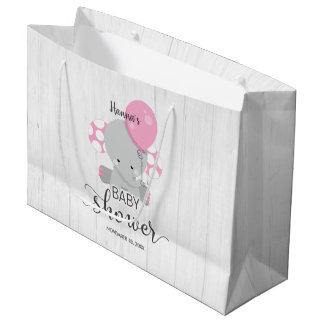 Wood & Pink Elephant Girl Baby Shower Large Gift Bag