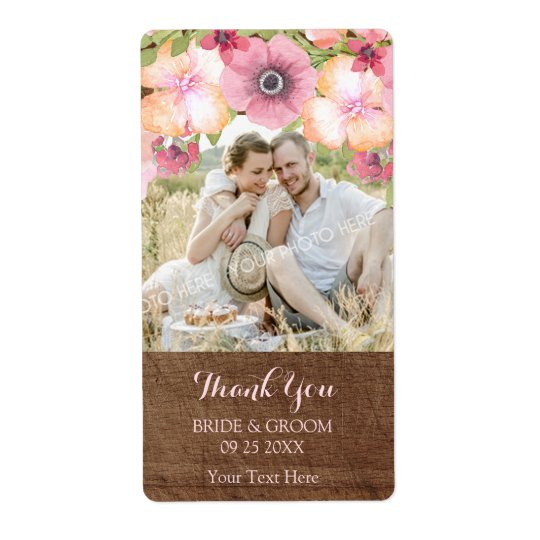 Wood Pink Watercolor Floral Photo Wedding Label Shipping Label