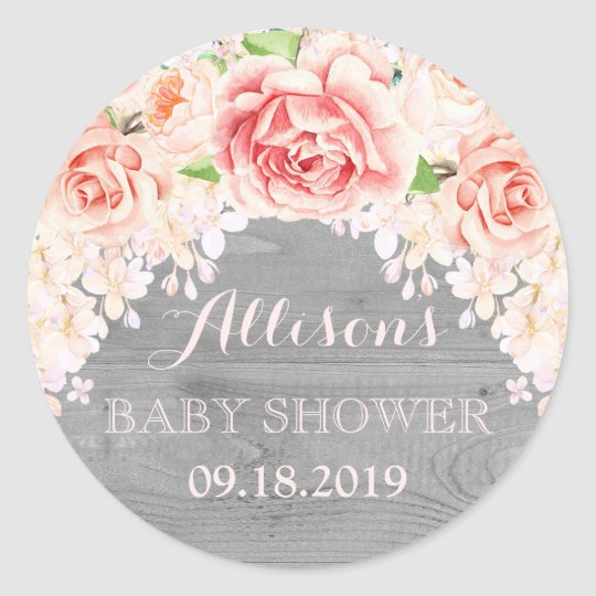 Wood Pink Watercolor Flowers Baby Shower Favour Classic Round Sticker