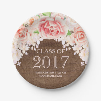 Wood Pink Watercolor Flowers Graduation 2017 7 Inch Paper Plate
