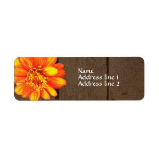 Wood Planks Orange Zinnia Address Labels