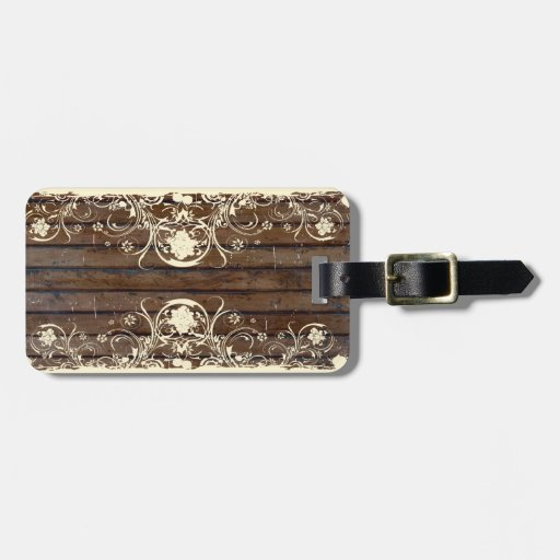 Wood Planks, Shabby Lace Luggage Tag
