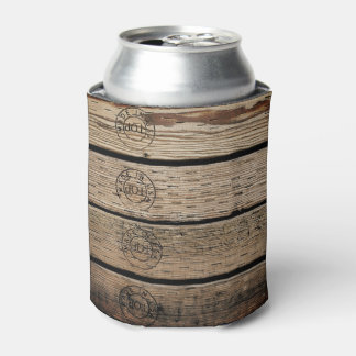 "Wood Planks Stamped with ""Made in USA"" Can Cooler"