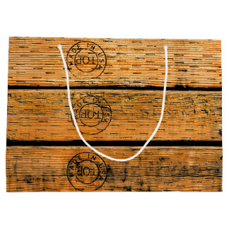 """Wood Planks Stamped with """"Made in USA"""" Large Gift Bag"""