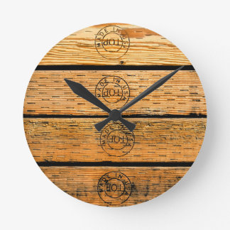 "Wood Planks Stamped with ""Made in USA"" Round Clock"