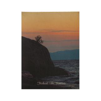 Wood Poster Flathead Lake Montana Sunset Pastels