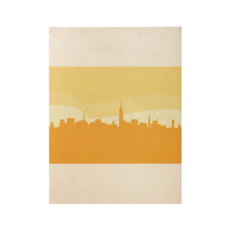 Wood poster with Gold town
