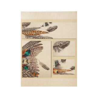 Wood poster with hand-drawn Feathers