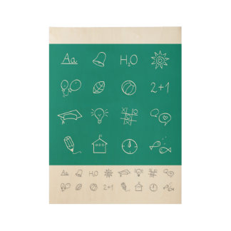 Wood poster with hand-drawn Icons