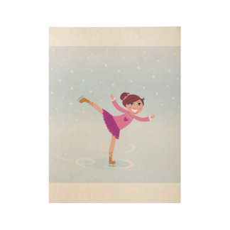 Wood poster with Ice skating girl