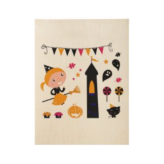 Wood poster with Kids art illustration