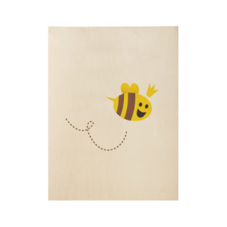 Wood poster with little bee