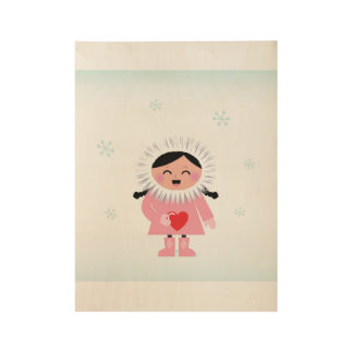 Wood poster with Little girl with Heart