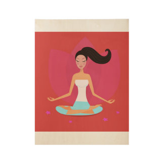 Wood poster with Meditation girl