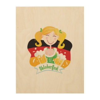 Wood poster with Octoberfest girl