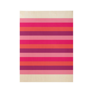 Wood poster with old-stripes / Pink