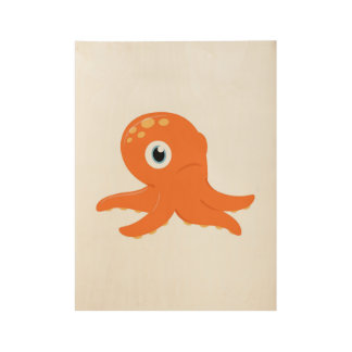 Wood poster with orange Octopus