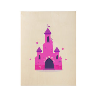 "Wood poster with ""Princess castle"" : pink"