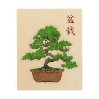 Wood Print: Japanese Bonsai Tree Wood Wall Art